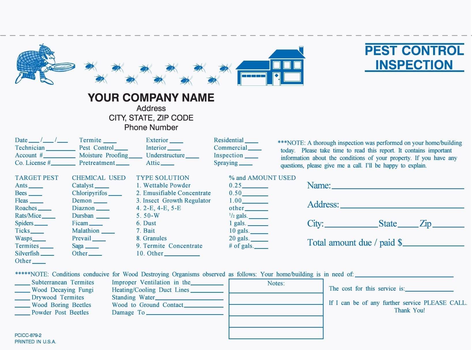 21 Part Pest Control Inspection Form Pertaining To Pest Control Inspection Report Template