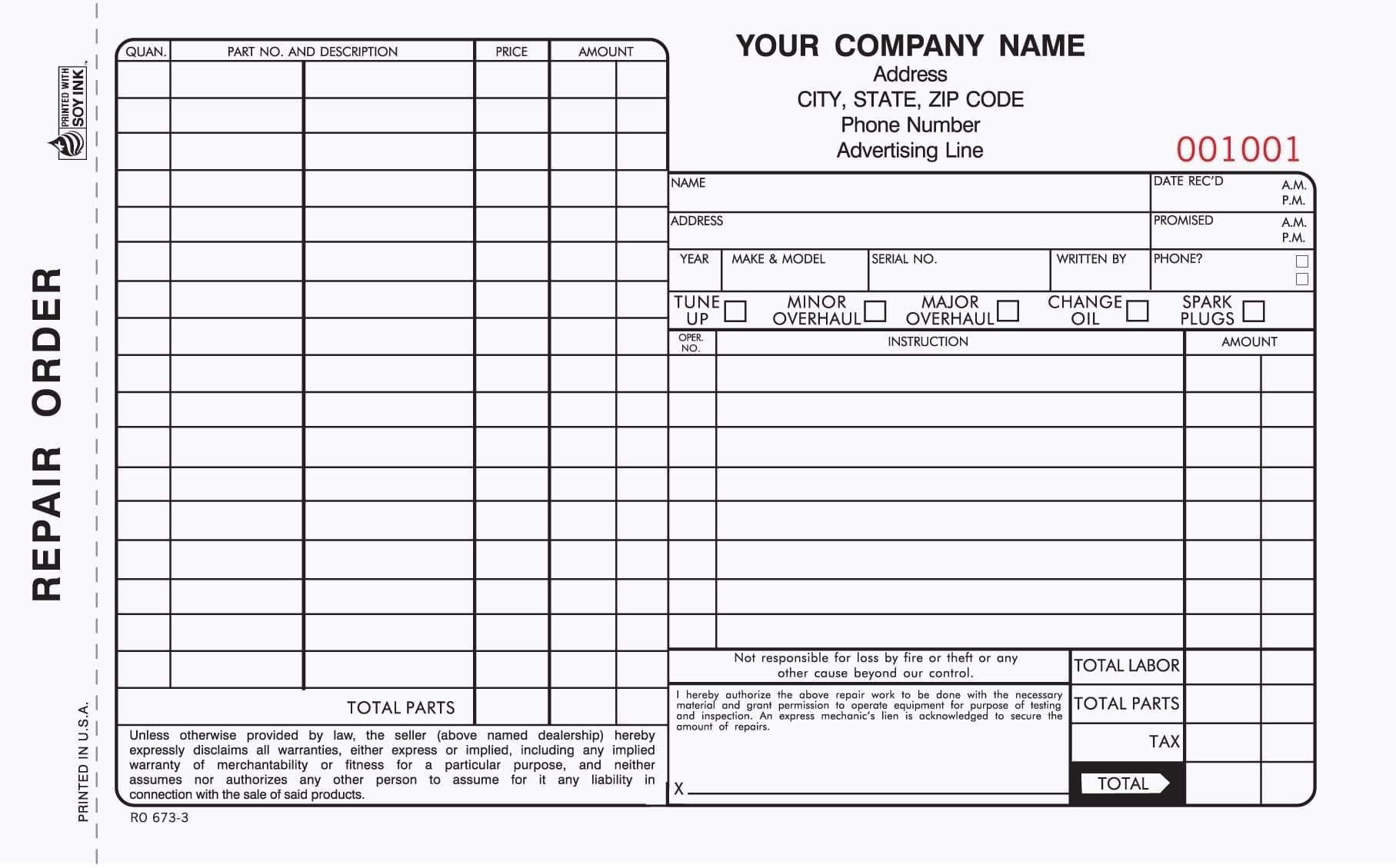 3 Part Auto Repair Order Forms